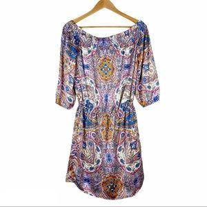 KAS New York Off Shoulder Paisley Print Dress